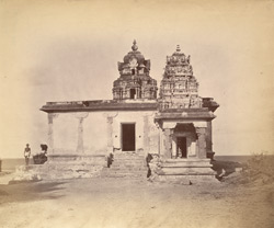 General view of temple near the seashore at Rameswaram.